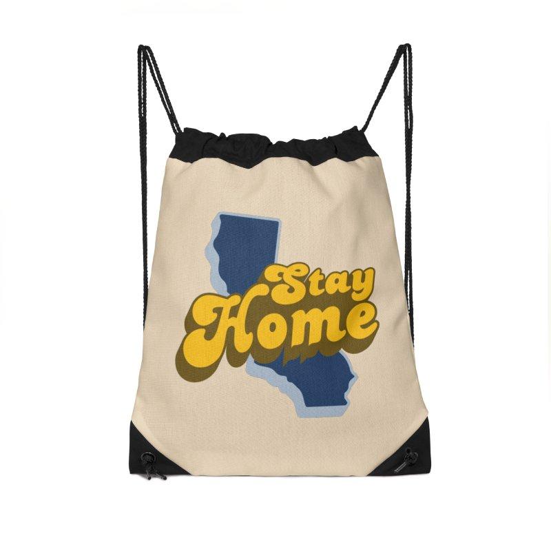 Stay Home, California Accessories Drawstring Bag Bag by Mike Hampton's T-Shirt Shop