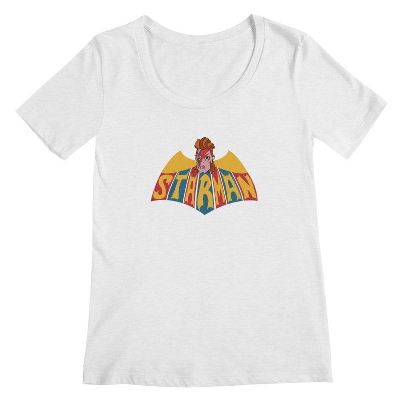 Starman Women's Regular Scoop Neck by Mike Hampton's T-Shirt Shop