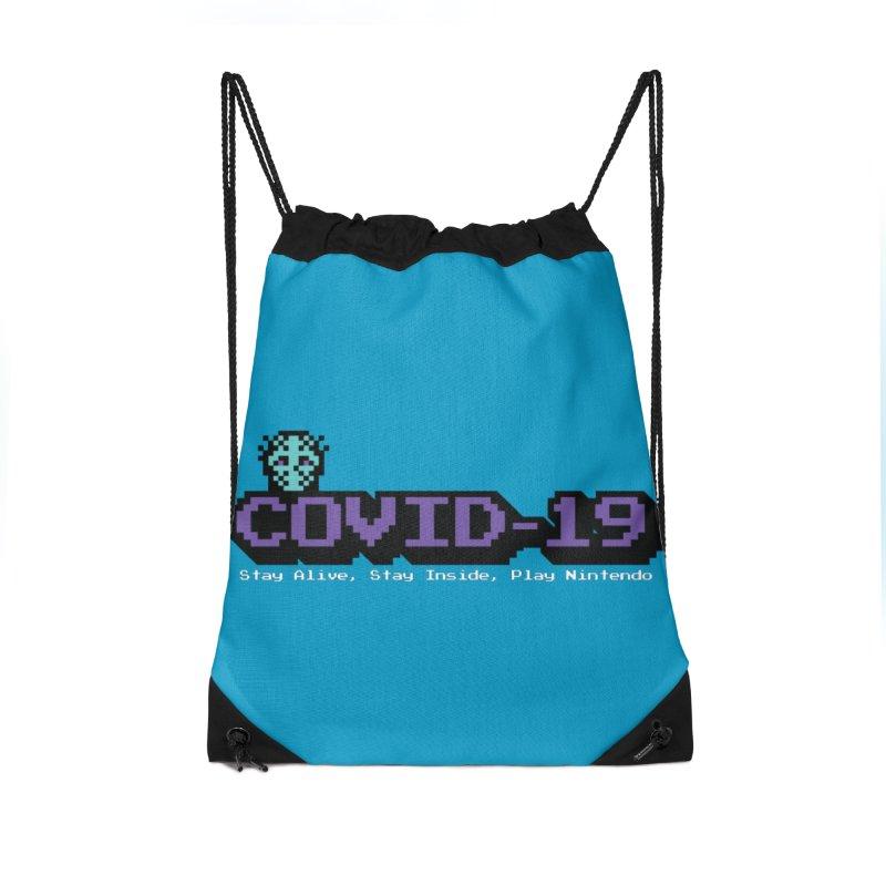 COVID-19-8-BIT Accessories Drawstring Bag Bag by Mike Hampton's T-Shirt Shop