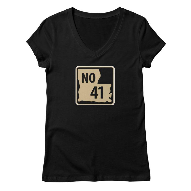 NO Highway #41 Women's V-Neck by Mike Hampton's T-Shirt Shop