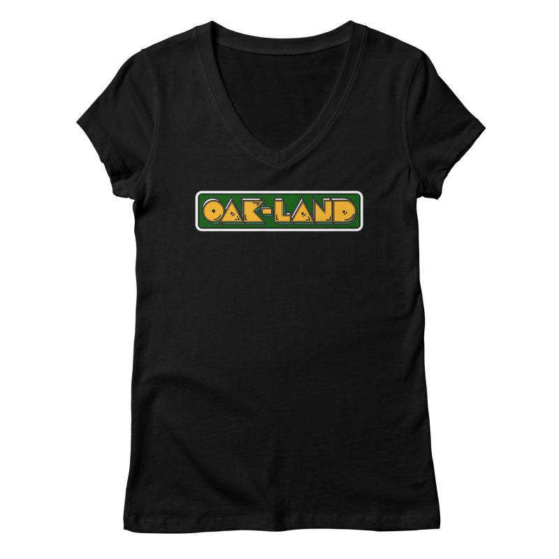 OAK-LAND Women's V-Neck by Mike Hampton's T-Shirt Shop