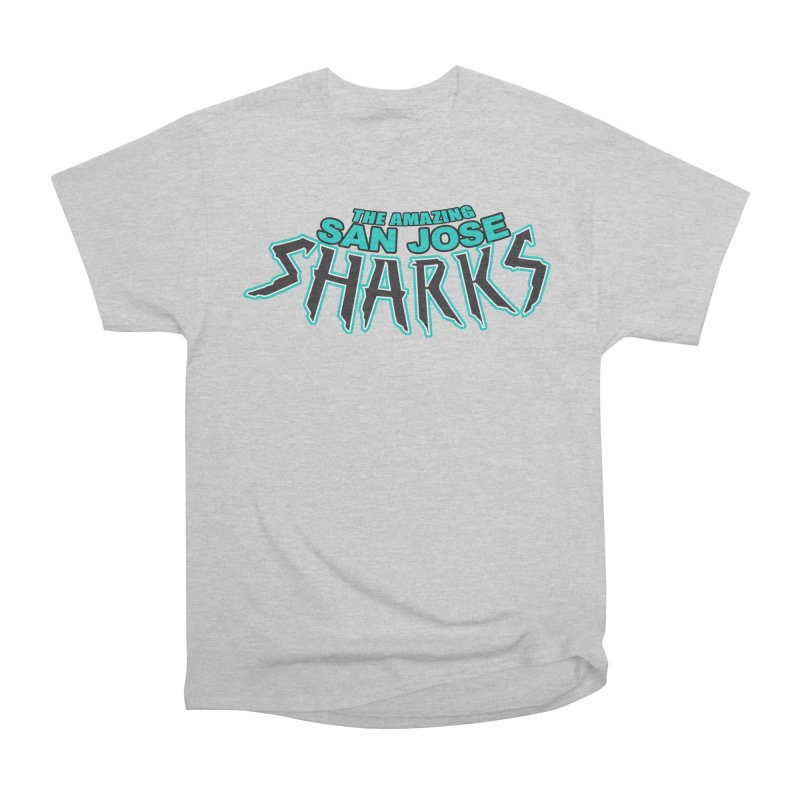 Friendly Neighborhood Sharks Men's Heavyweight T-Shirt by Mike Hampton's T-Shirt Shop