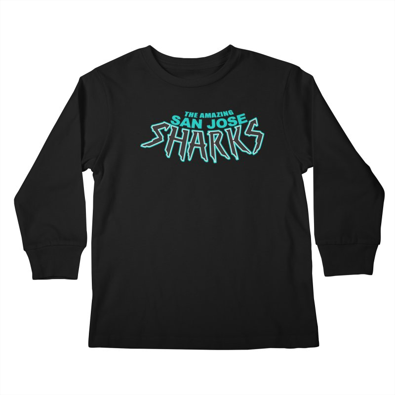 Friendly Neighborhood Sharks Kids Longsleeve T-Shirt by Mike Hampton's T-Shirt Shop