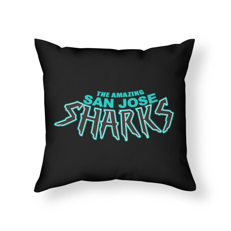Friendly Neighborhood Sharks Home Throw Pillow by Mike Hampton's T-Shirt Shop