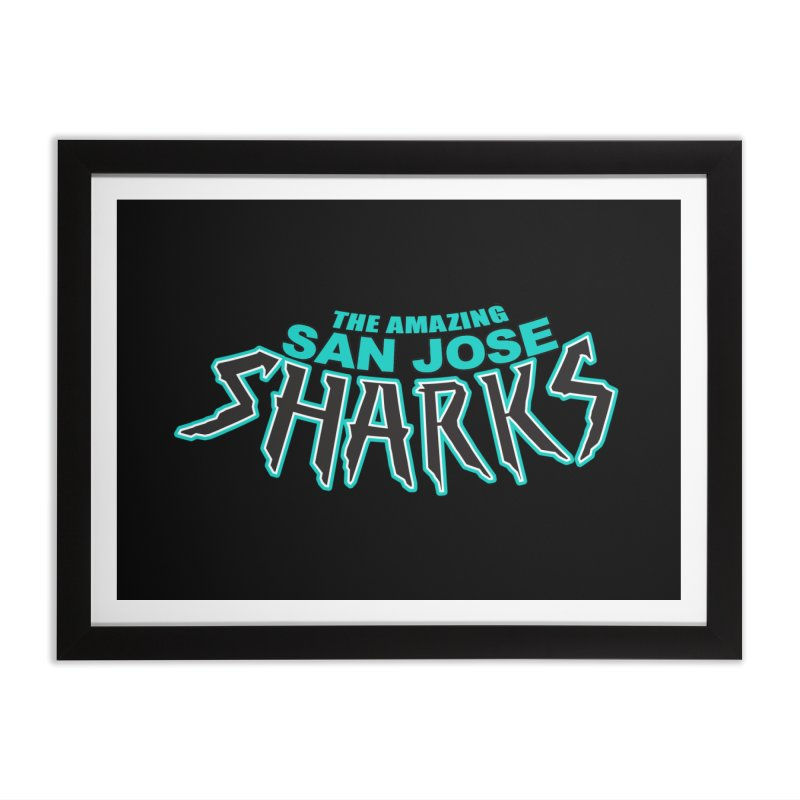 Friendly Neighborhood Sharks Home Framed Fine Art Print by Mike Hampton's T-Shirt Shop