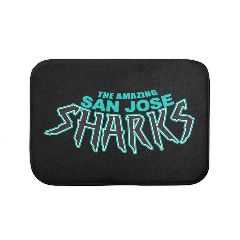 Friendly Neighborhood Sharks Home Bath Mat by Mike Hampton's T-Shirt Shop