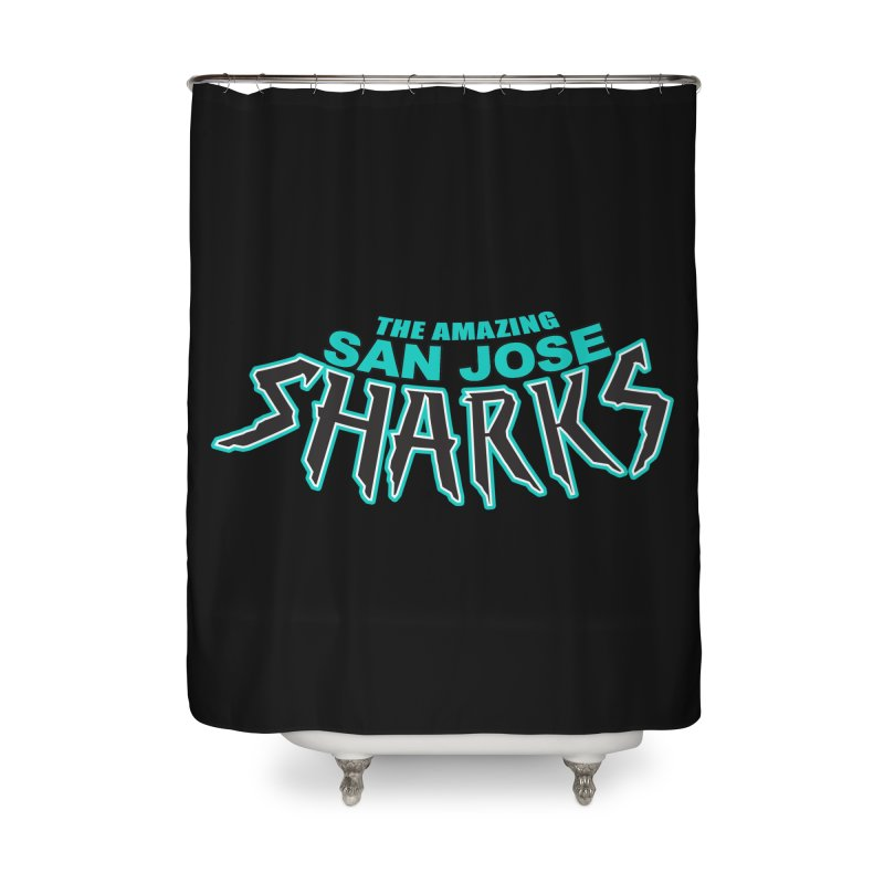 Friendly Neighborhood Sharks Home Shower Curtain by Mike Hampton's T-Shirt Shop