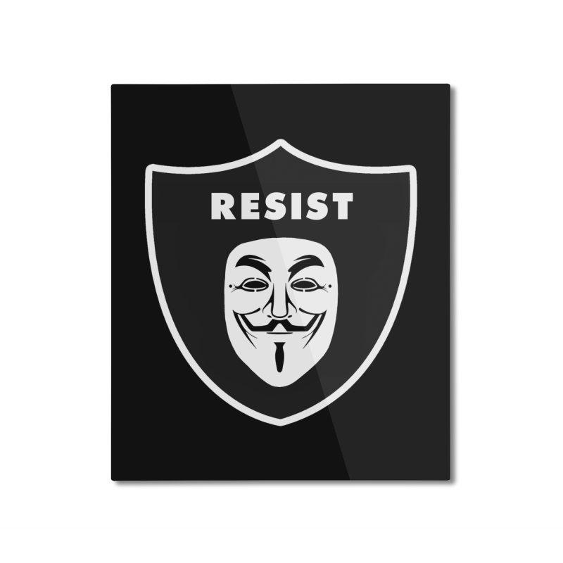 Resist Home Mounted Aluminum Print by Mike Hampton's T-Shirt Shop
