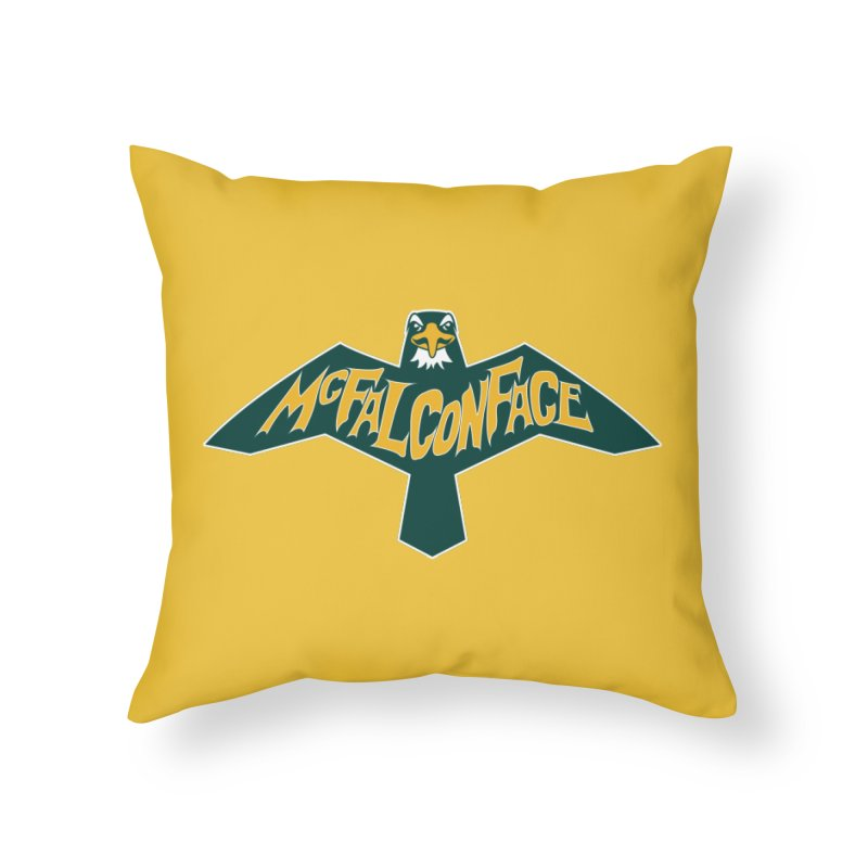 Falcon McFalconface Home Throw Pillow by Mike Hampton's T-Shirt Shop