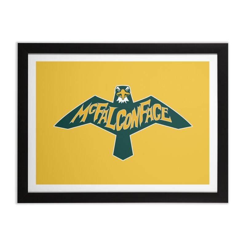 Falcon McFalconface Home Framed Fine Art Print by Mike Hampton's T-Shirt Shop