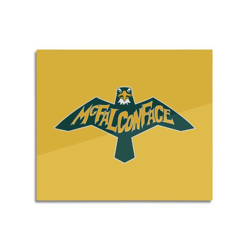 Falcon McFalconface Home Mounted Aluminum Print by Mike Hampton's T-Shirt Shop