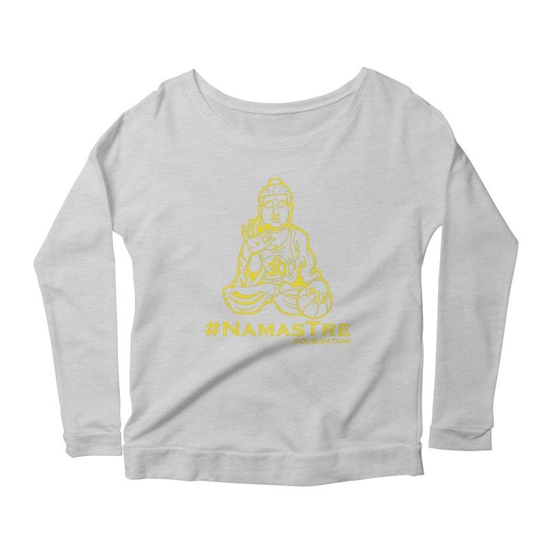 Namastre (Thin Buddha) version Women's Scoop Neck Longsleeve T-Shirt by Mike Hampton's T-Shirt Shop