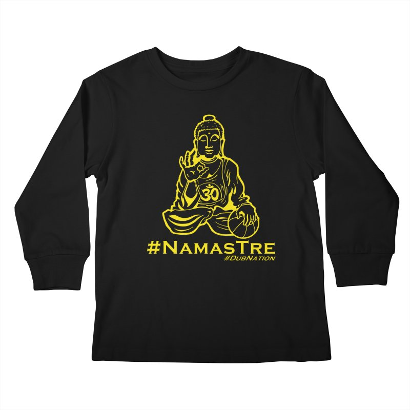 Namastre (Thin Buddha) version Kids Longsleeve T-Shirt by Mike Hampton's T-Shirt Shop
