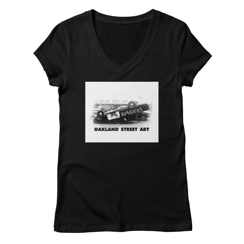 Oakland Street Art Women's Regular V-Neck by Mike Hampton's T-Shirt Shop