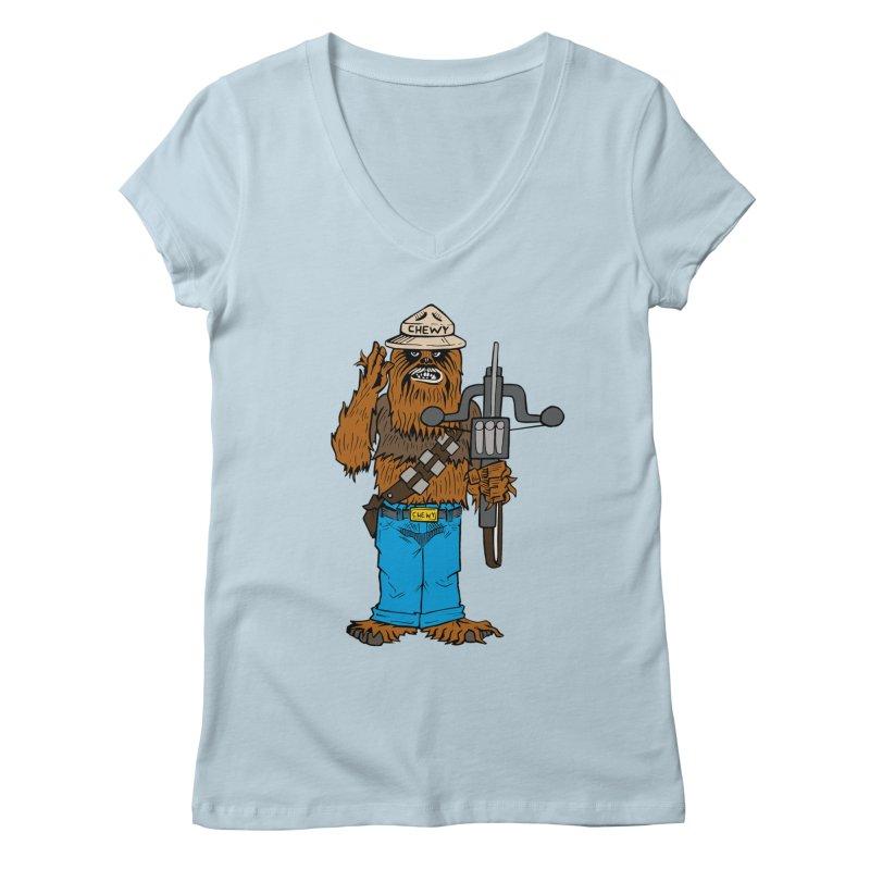 Smokey the Wookie Women's V-Neck by Mike Hampton's T-Shirt Shop