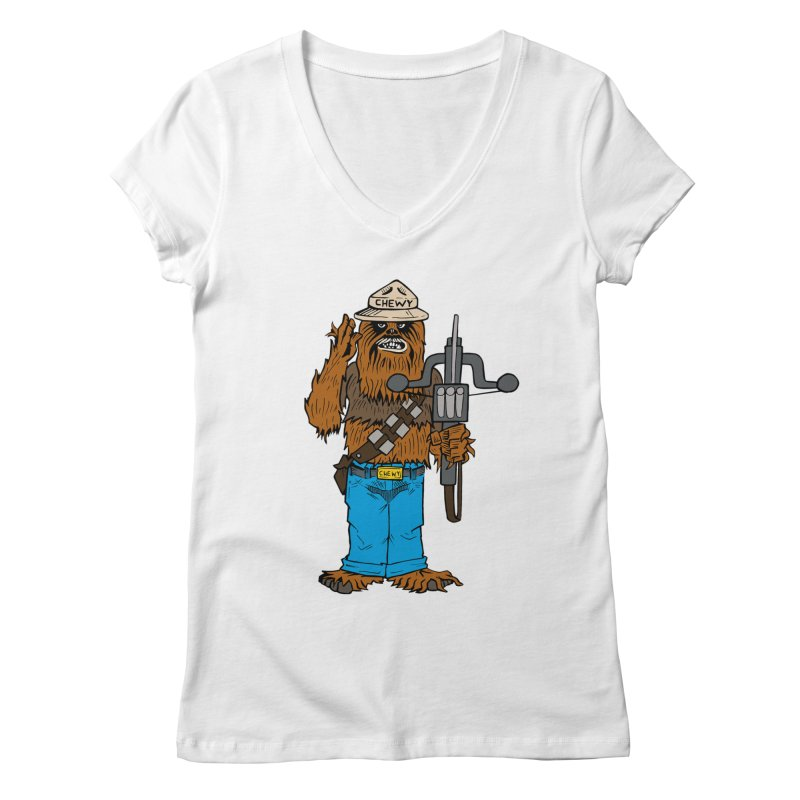 Smokey the Wookie Women's Regular V-Neck by Mike Hampton's T-Shirt Shop