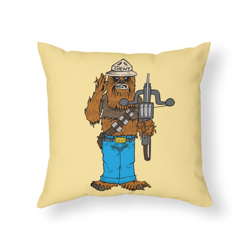 Smokey the Wookie Home Throw Pillow by Mike Hampton's T-Shirt Shop