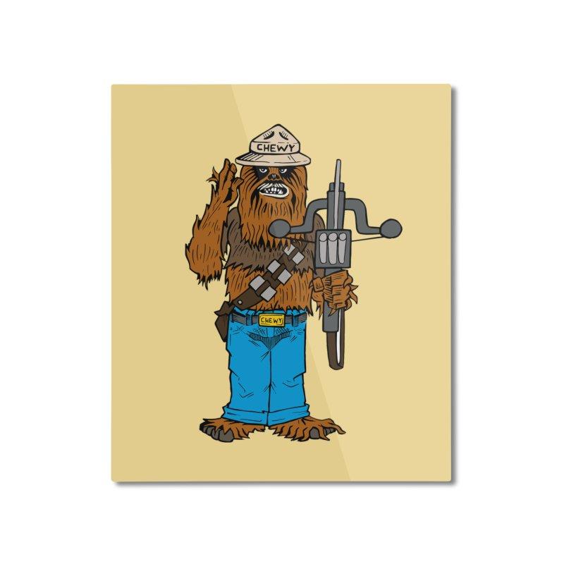 Smokey the Wookie Home Mounted Aluminum Print by Mike Hampton's T-Shirt Shop