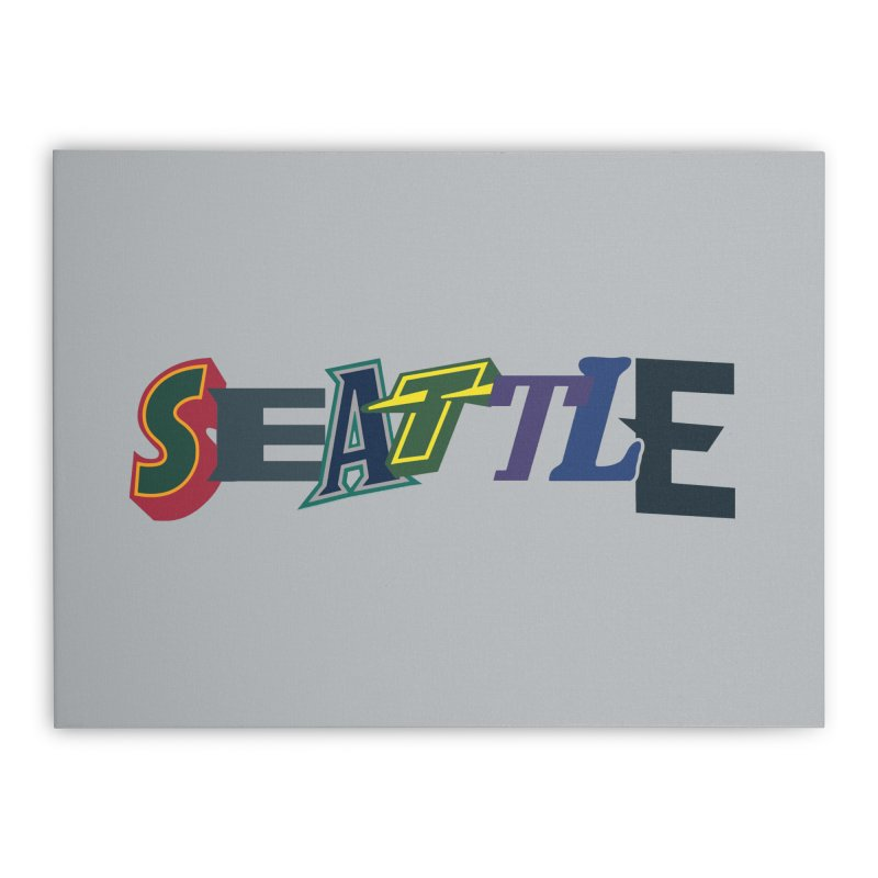 All Things Seattle Home Stretched Canvas by Mike Hampton's T-Shirt Shop