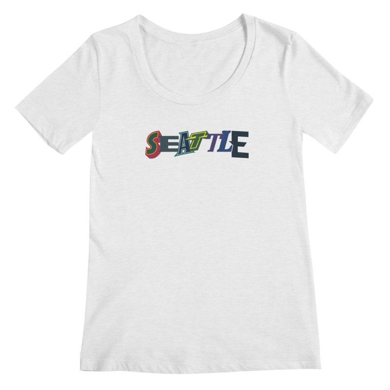 All Things Seattle Women's Scoop Neck by Mike Hampton's T-Shirt Shop