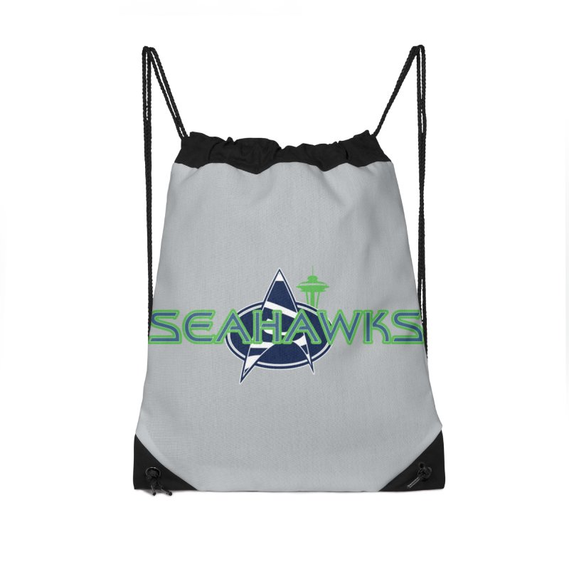 Seattle, the Final Frontier Accessories Drawstring Bag Bag by Mike Hampton's T-Shirt Shop
