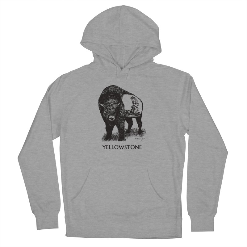 Buffalo of Yellowstone in Men's French Terry Pullover Hoody Heather Graphite by Mike Petzold's Artist Shop