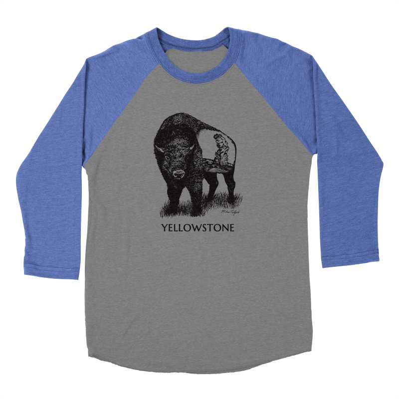 Buffalo of Yellowstone Women's Baseball Triblend Longsleeve T-Shirt by Mike Petzold's Artist Shop