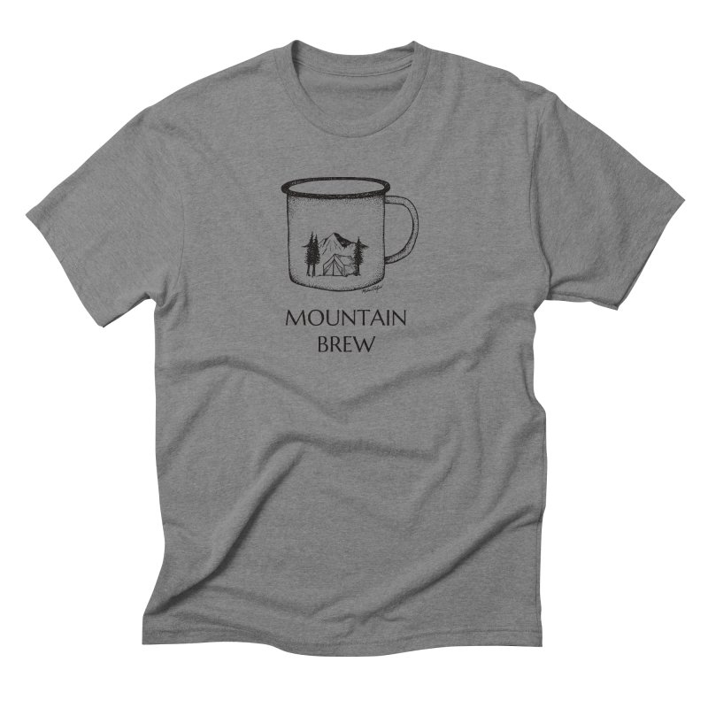 Mountain Brew in Men's Triblend T-Shirt Grey Triblend by Mike Petzold's Artist Shop