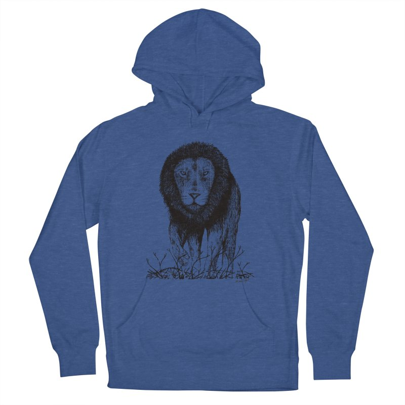 Lion Men's French Terry Pullover Hoody by Mike Petzold's Artist Shop