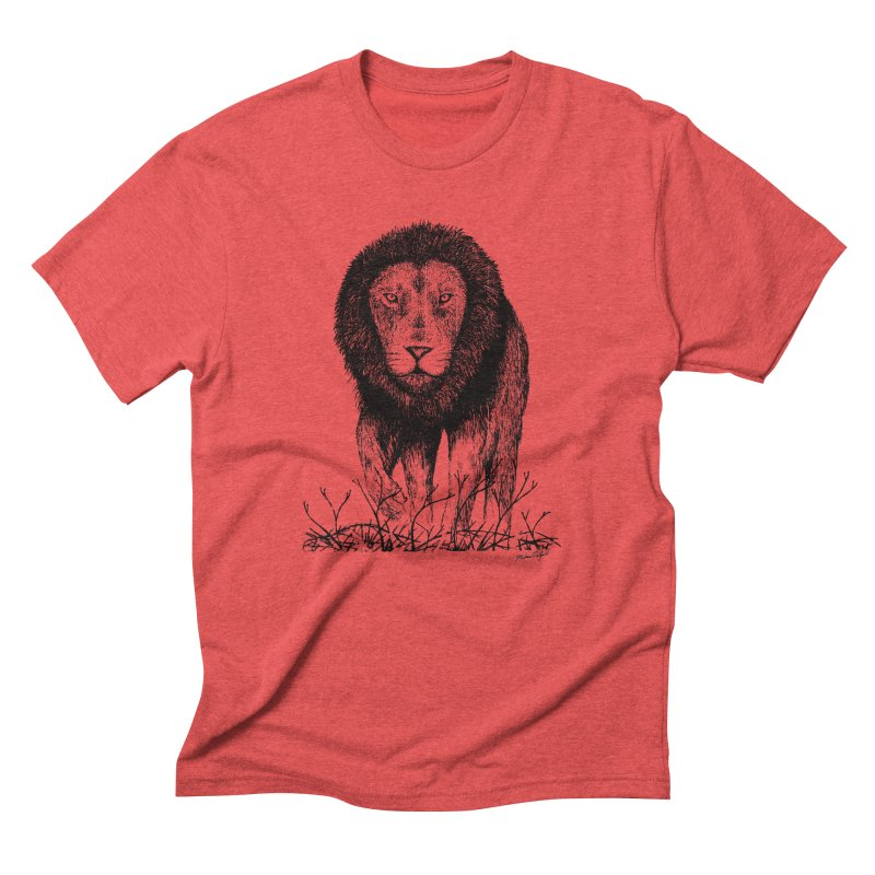 Lion in Men's Triblend T-Shirt Chili Red by MikePetzold's Artist Shop
