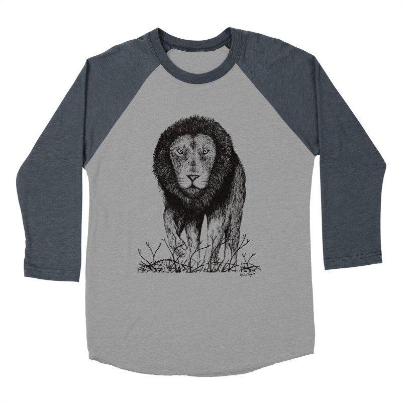 Lion Women's Baseball Triblend Longsleeve T-Shirt by Mike Petzold's Artist Shop