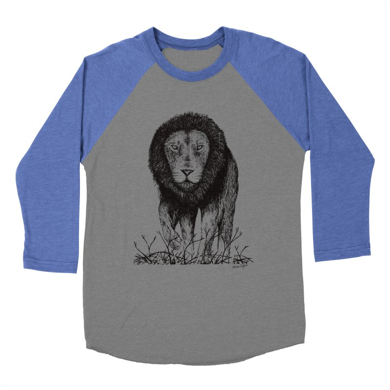 Lion Men's Baseball Triblend Longsleeve T-Shirt by Mike Petzold's Artist Shop