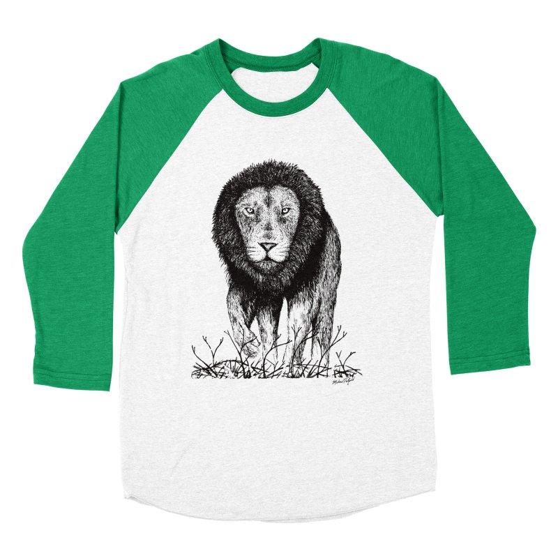 Lion Men's Baseball Triblend Longsleeve T-Shirt by Mike Petzold's Artist Shop