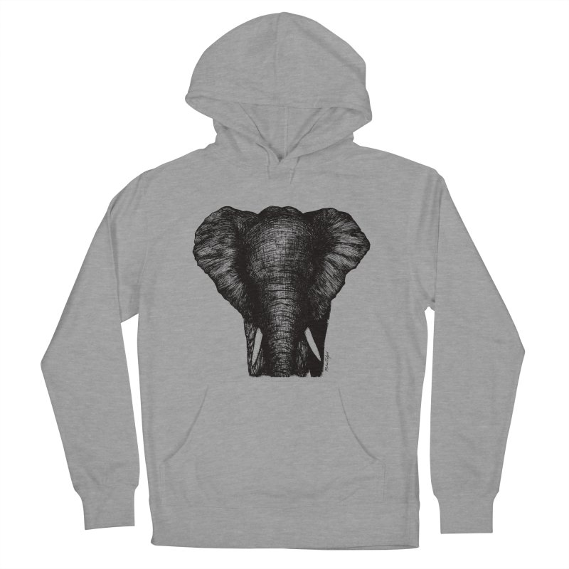 African Elephant Women's French Terry Pullover Hoody by MikePetzold's Artist Shop
