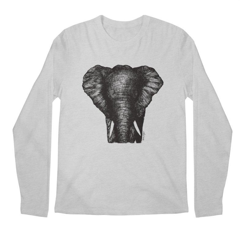 African Elephant Men's Regular Longsleeve T-Shirt by MikePetzold's Artist Shop