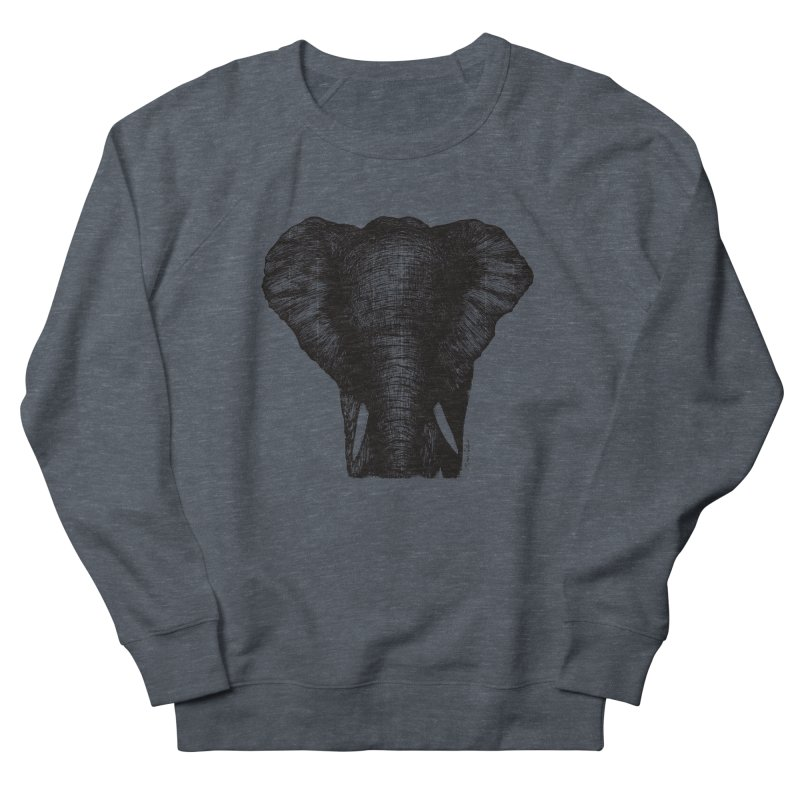 African Elephant Men's French Terry Sweatshirt by MikePetzold's Artist Shop