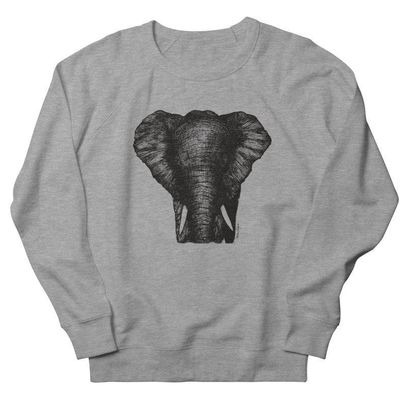 African Elephant Men's French Terry Sweatshirt by Mike Petzold's Artist Shop