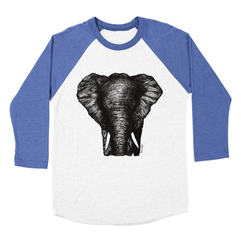 African Elephant Women's Baseball Triblend Longsleeve T-Shirt by Mike Petzold's Artist Shop