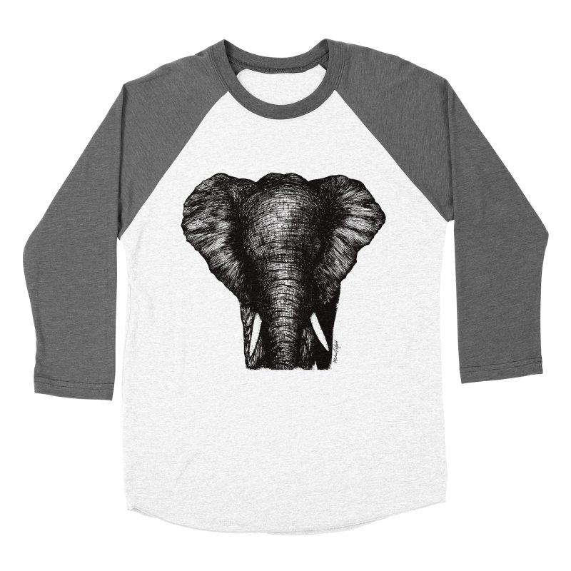 African Elephant Women's Baseball Triblend Longsleeve T-Shirt by Mike Petzold's Artist Shop