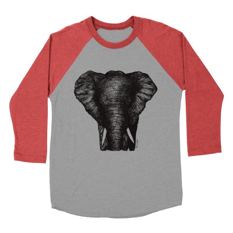 African Elephant Men's Baseball Triblend Longsleeve T-Shirt by Mike Petzold's Artist Shop