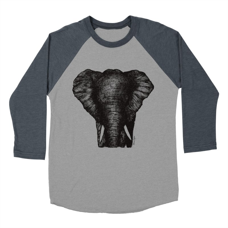 African Elephant Men's Baseball Triblend Longsleeve T-Shirt by Mike Petzold's Artist Shop