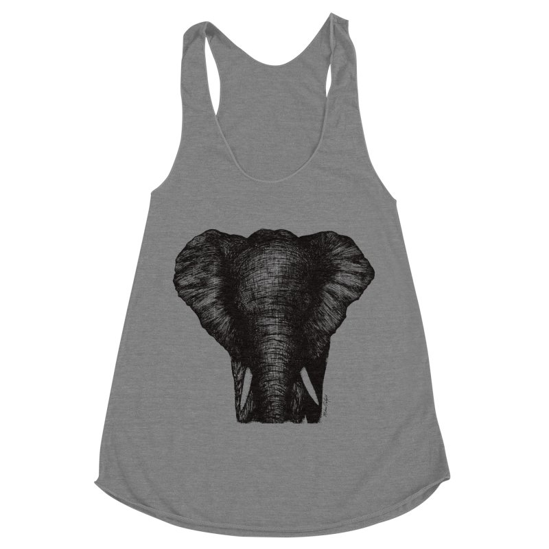 African Elephant Women's Racerback Triblend Tank by Mike Petzold's Artist Shop