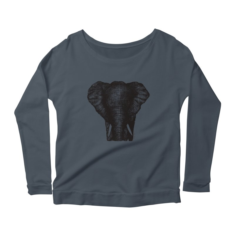 African Elephant Women's Scoop Neck Longsleeve T-Shirt by MikePetzold's Artist Shop