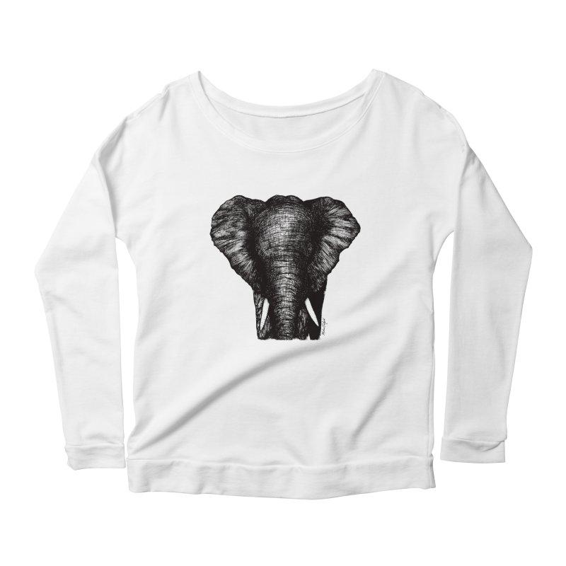 African Elephant Women's Scoop Neck Longsleeve T-Shirt by Mike Petzold's Artist Shop