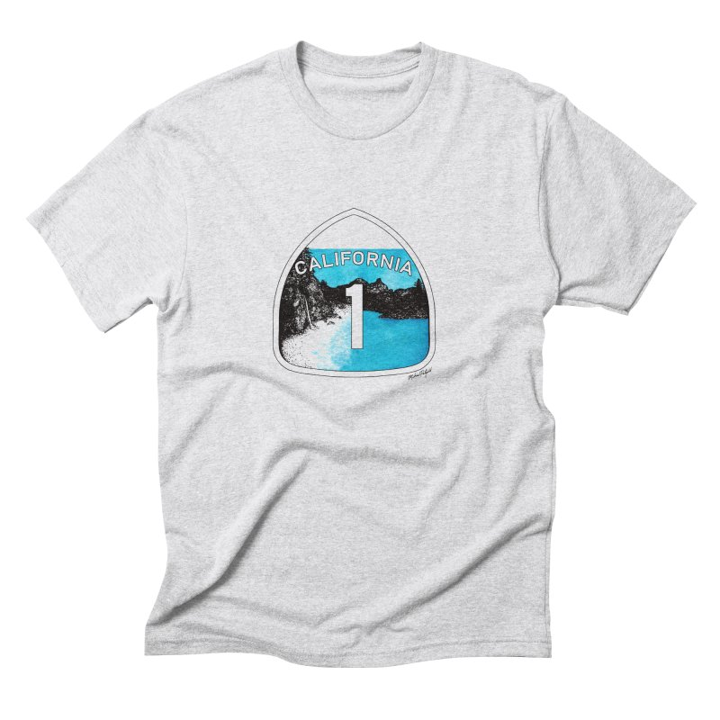 Highway 1: Big Sur in Men's Triblend T-Shirt Heather White by MikePetzold's Artist Shop