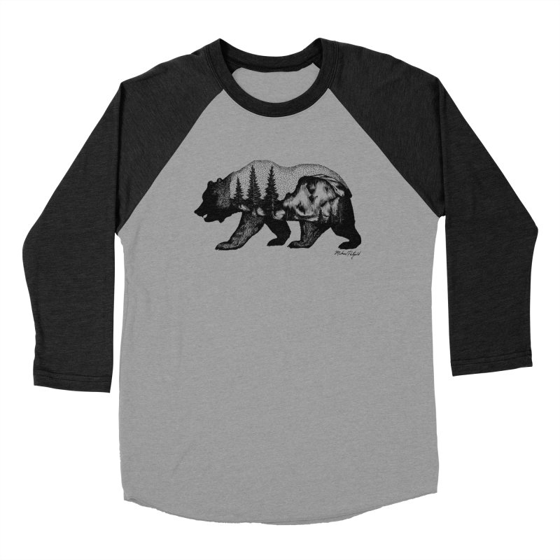 Bear of Yosemite in Men's Baseball Triblend T-Shirt Heather Onyx Sleeves by MikePetzold's Artist Shop