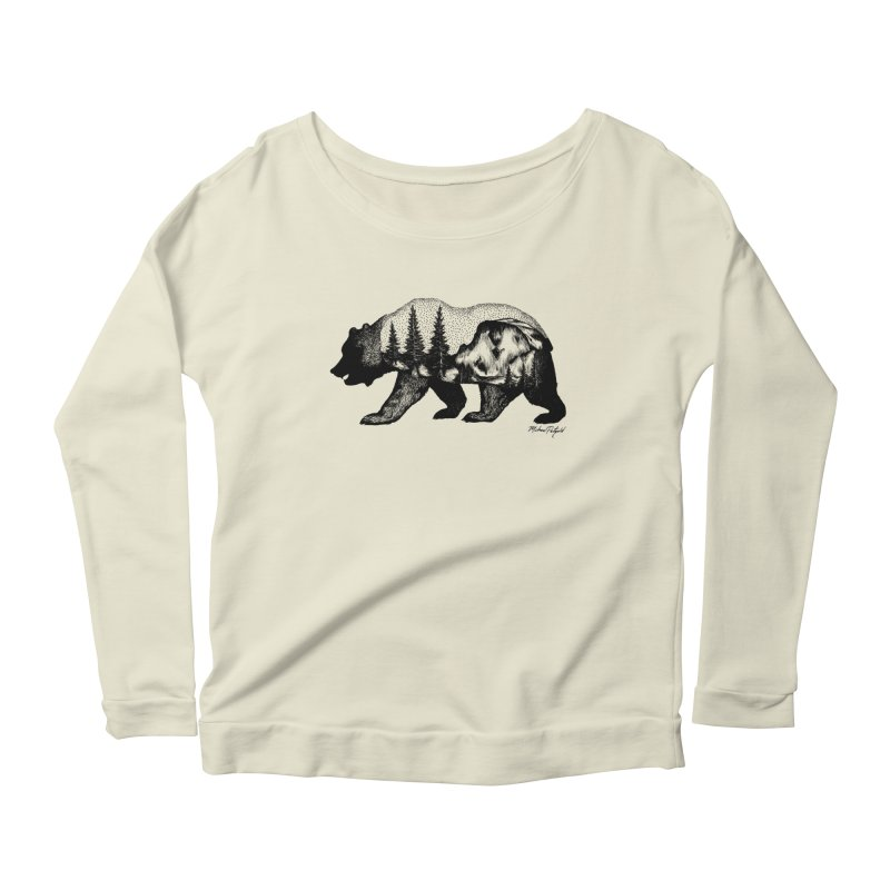 Bear of Yosemite Women's Scoop Neck Longsleeve T-Shirt by Mike Petzold's Artist Shop