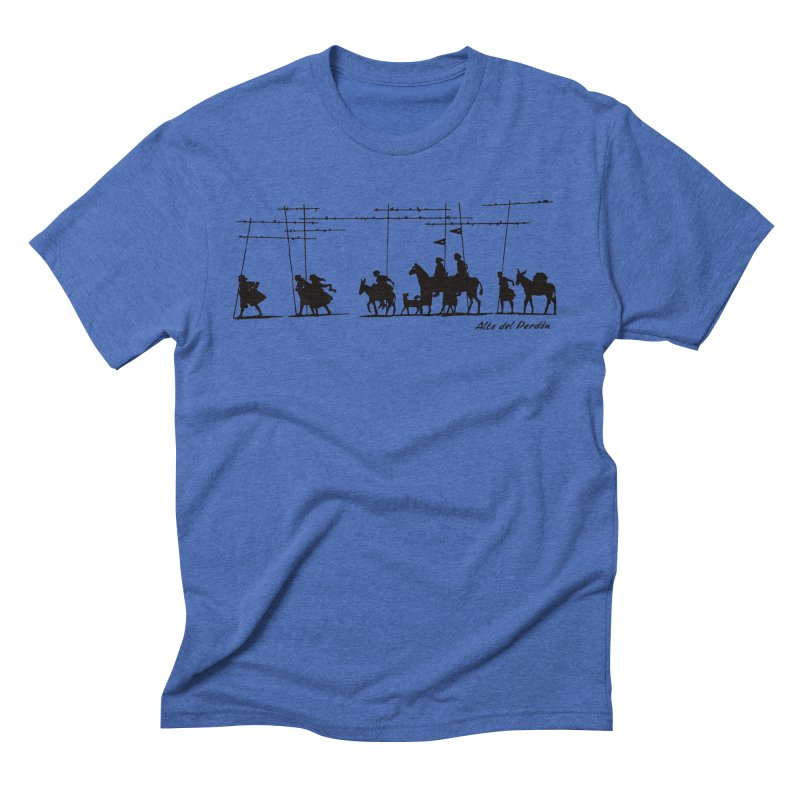 Camino de Santiago - Alto del Perdón in Men's Triblend T-Shirt Blue Triblend by Mike Petzold's Artist Shop