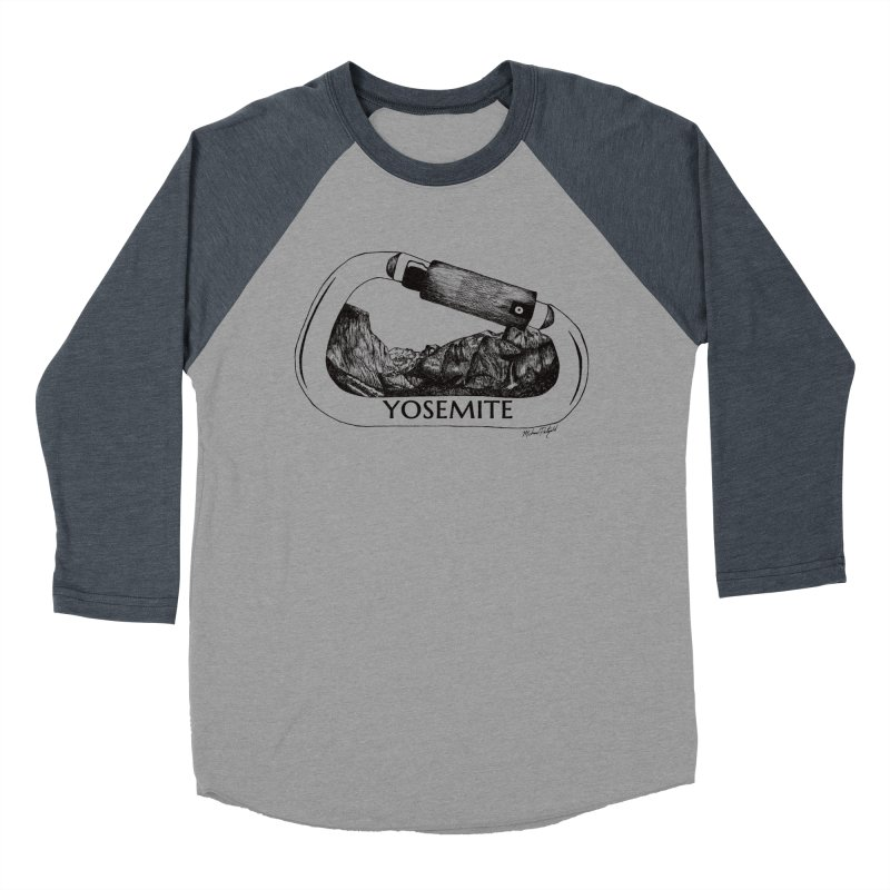 Climb Yosemite in Men's Baseball Triblend Longsleeve T-Shirt Navy Sleeves by Mike Petzold's Artist Shop