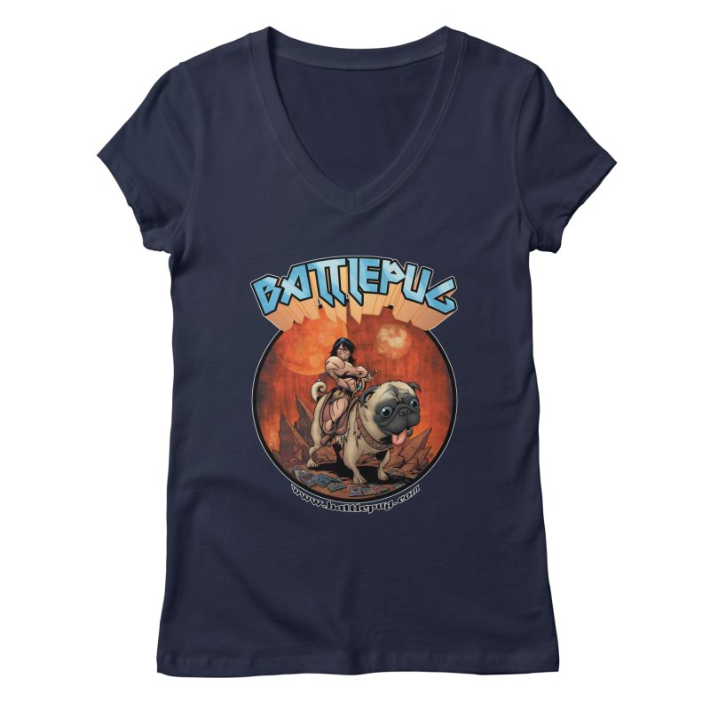 Battlepug OG tee Women's Regular V-Neck by THE BATTLEPUG STORE!